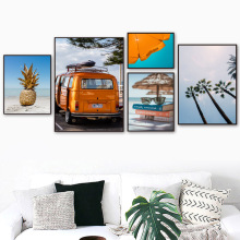 Pineapple Bus Coconut Tree Beach Wall Art Canvas Painting Travel Nordic Posters And Prints Pictures For Living Room Decor