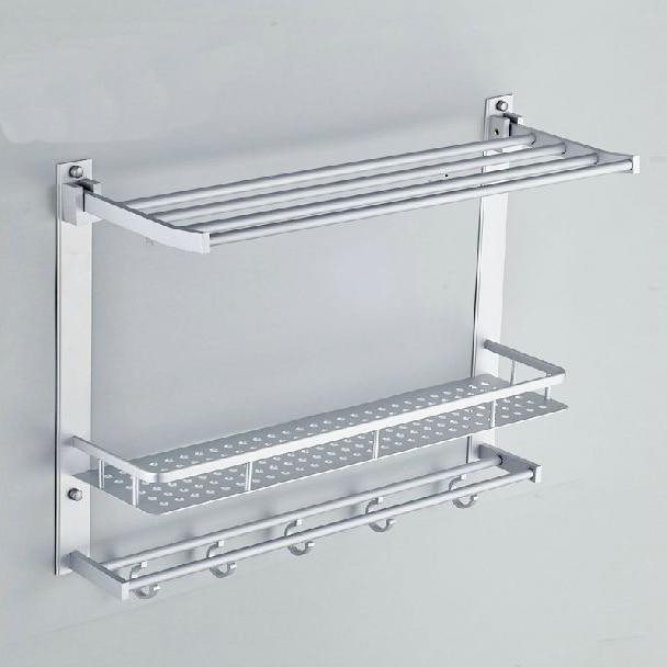 Aliexpress.com : Buy Bathroom Shelves Two Layer Bathroom Rack Space  Aluminum Towel Washing Shower Basket Bar White Modern Cosmetic Storage Shelf  7842 From ...