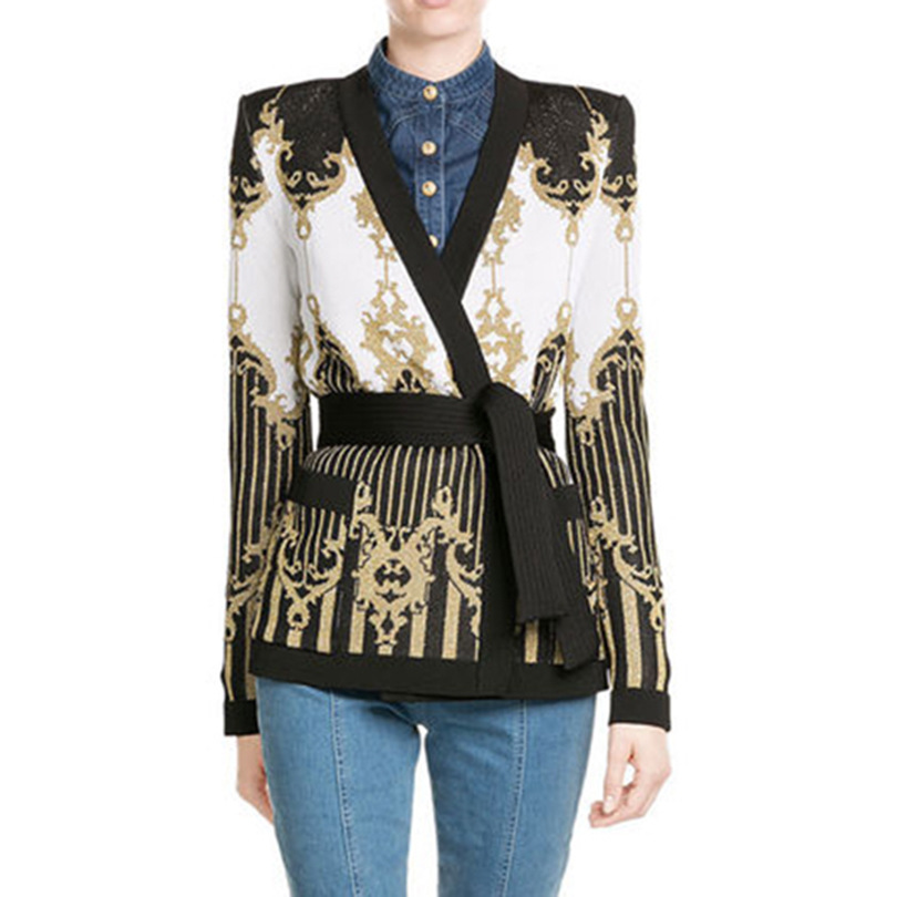 New  autumn winters in Europe and the hot style coat thick heavy gold baroque knitted sweater cardigan