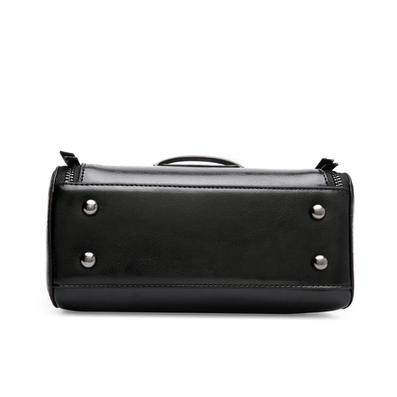 Mode Carré Bag En Black white section De Épaule Nouveau Casual Messenger cire À Croix Sac Huile Cuir Main Femmes avYxqT