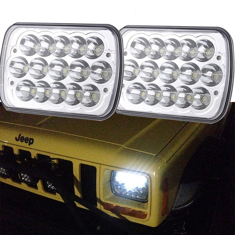 5 x 7 6x7inch Rectangular LED Headlights for Jeep Wrangler YJ Cherokee XJ Trucks 4X4 Offroad Headlamp Replacement H6054 H5054 мультиварка fh1394 белая delonghi