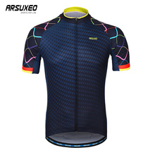 ARSUXEO Mens Cycling Jerseys Short Sleeve Breathable Mountain Bike Jersey Quick Dry Bicycle Clothing Maillot Ciclismo