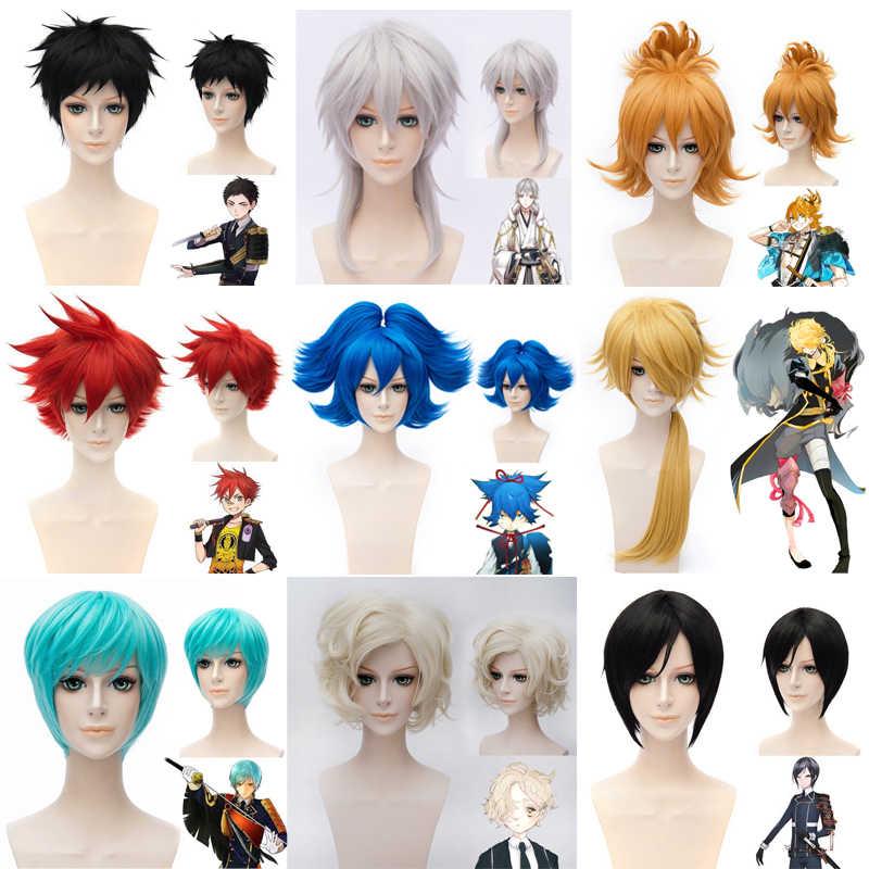 (Алиса-парик 025) Термостойкое волокно парик, заколки, заколки для волос синтетические волосы парик аниме Touken Ranbu Online синий черный парик для косплея