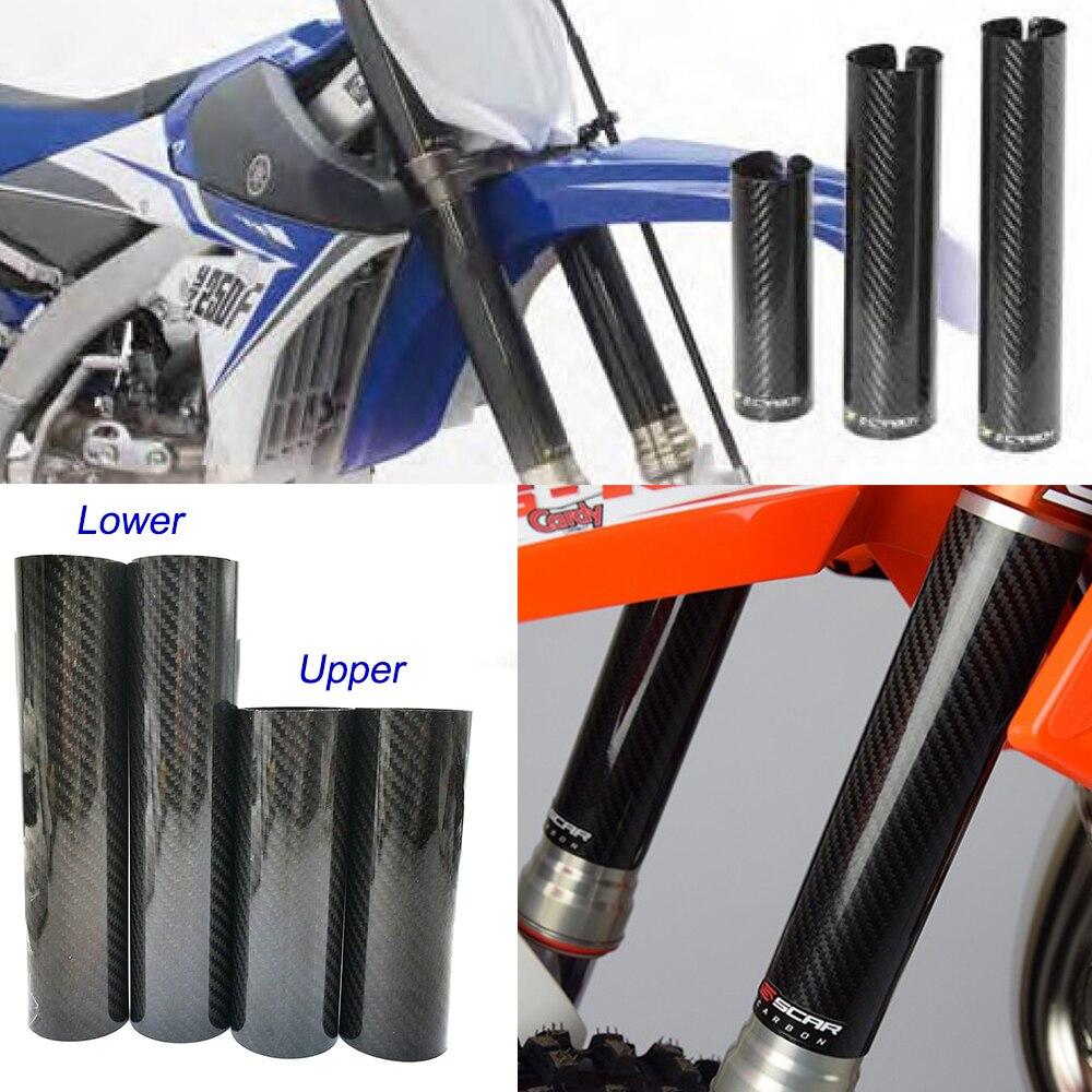 PRO CAKEN Carbon Fiber Front Fork Tube Set Slider Cover Wrap Guard for Dirt Pit Bike Motocross RMZ250 RMZ450 RMX450Z 250 450 EXF EXC FC FE