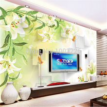 beibehang Lily Flowers Tv background wall paper silk cloth 3d wallpaper seamless mural Customize any size murals photo