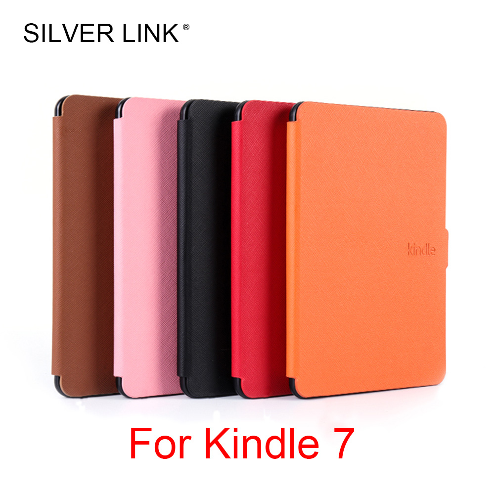 SILVER LINK 1X Kindle 7 PU Case Faux Leather Cover For Kindle Skin Multicolor Auto Sleep/Wakeup Hard Protector Shell lichee pattern protective pu leather case stand w auto sleep cover for google nexus 7 ii white