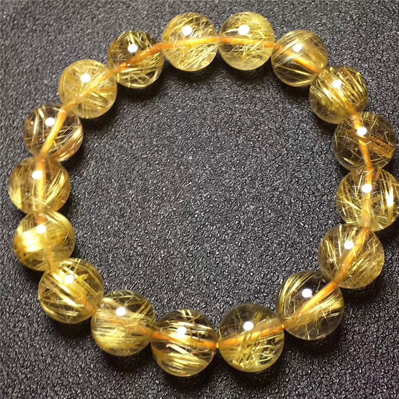 12.2mm Natural Brazil Gold Rutilated Titanium Quartz Bracelet Woman Man Lucky Wealthy Clear Round Beads Crystal Charms Jewelry12.2mm Natural Brazil Gold Rutilated Titanium Quartz Bracelet Woman Man Lucky Wealthy Clear Round Beads Crystal Charms Jewelry