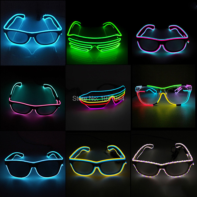 Double Colors Sound Activated EL wire Led Glasses Lighting Colorful Glowing Glasses Luminous glasses For Party Decoration Gifts