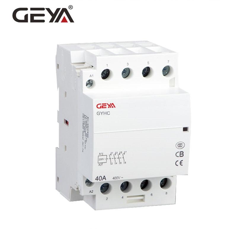 GEYA GYHC 4 p 40A 63A 220 v/230 v 50/60 hz Rail Din Ménage AC Modulaire contacteur 4NO ou 2NC2NO