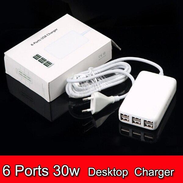 10pcs Universal 6 Ports USB Travel Charger 5V 6A 30W USB Desktop Wall Charger US EU