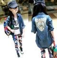 Retail 2016 new girls denim jacket girls jacket Autumn big virgin child leopard cowboy coat children's clothing 3-12 years