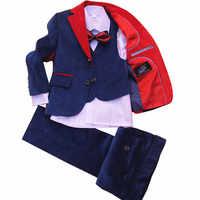 Enfants veste formelle mariage garçons robe costume 4 pièces ensemble haute qualité veste + gilet + pantalon + noeud papillon velours côtelé bleu taille 42-56