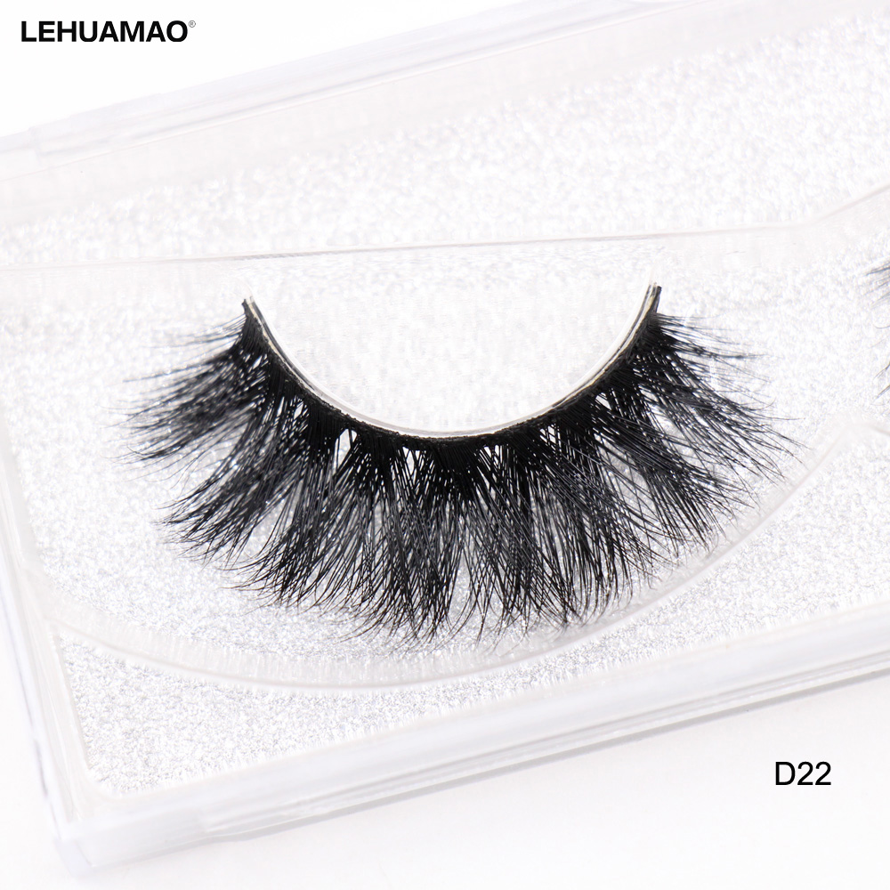 4413746f3a7 LEHUAMAO False Eyelashes 3D Mink Lashes Natural Volume Handmade Mink False  Eyelashes Thick Full Strip Lashes Cruelty Free D22