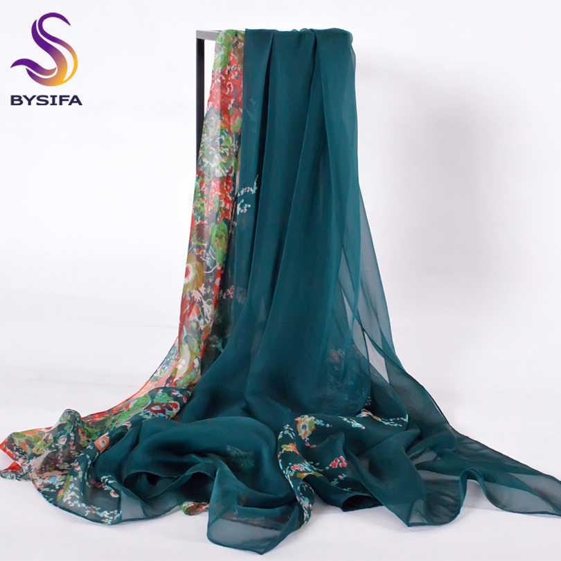 2b6fa5e23f60  BYSIFA  Winter Dark Green Silk Scarf New Brand 100% Natural Silk Women Long
