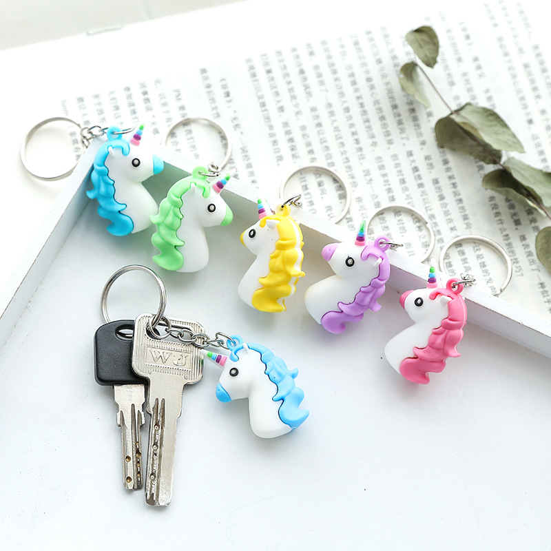 Fancy&Fantasy Hot Sale Cute Unicorn Keychain Animal PVC Keychains Women Bag Charm Key Ring Pendant Gifts High Quality