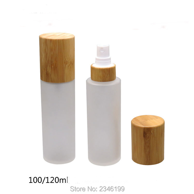 <font><b>100ML</b></font> 120ML 10pcs/lot Empty <font><b>Glass</b></font> Cosmetic <font><b>Spray</b></font> <font><b>Bottle</b></font> with Bamboo Cap, High Class Bamboo Cosmetic Liquid Refillable Storage image