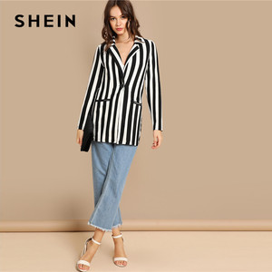 Image 5 - SHEIN Black And White Notch Collar Striped Textured Blazer Women Spring High Street Long Sleeve Single Button Casual Outer