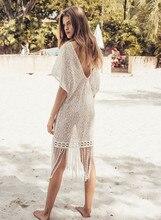 Melflow Ladies White Hollow Dress Tassel Tunic See Through Knitted Fringe Beach Cover-Up Pareos Bikini Cover Swim Robe Beachwear