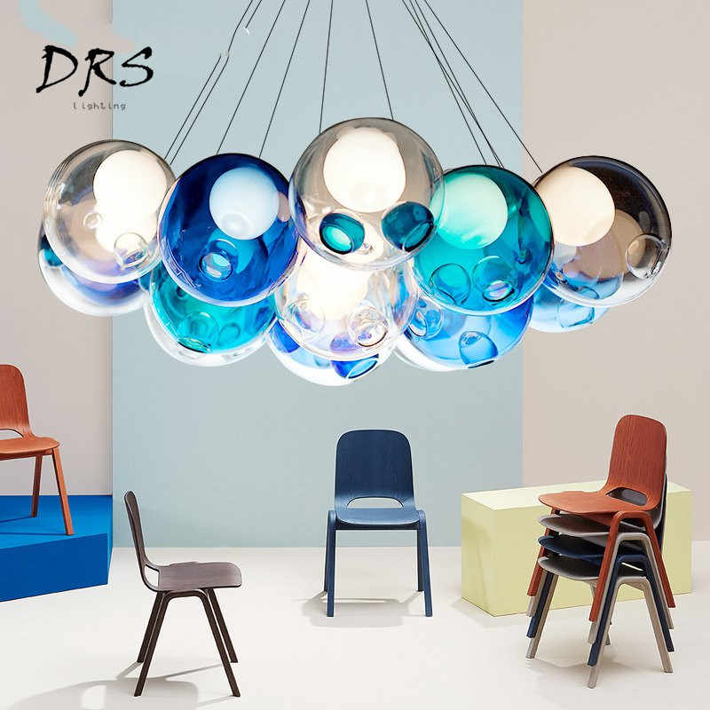 Colorful Glass Chandelier Simple Modern Living Room Pendant Lamp Children Room Color Globe Lights Bedroom Art Stair Restaurant
