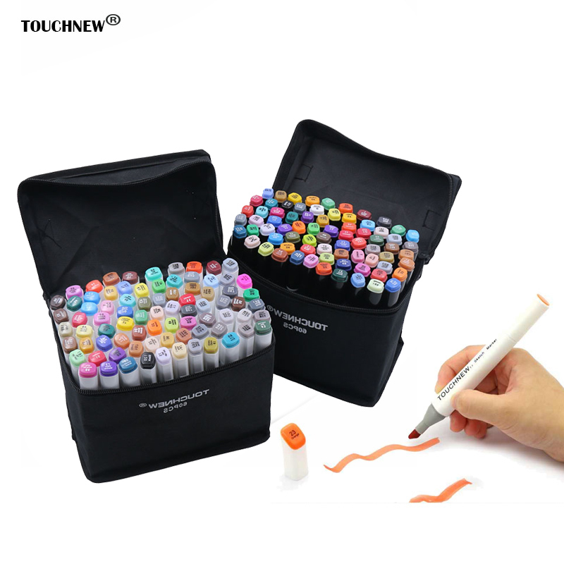 TOUCHFIVE 168Colors Art Marker Double Headed Sketch Alcohol Designers Marker Pen30 40 60 80PCS/Set Paint Sketch Art Manga Marker promotion touchfive 80 color art marker set fatty alcoholic dual headed artist sketch markers pen student standard