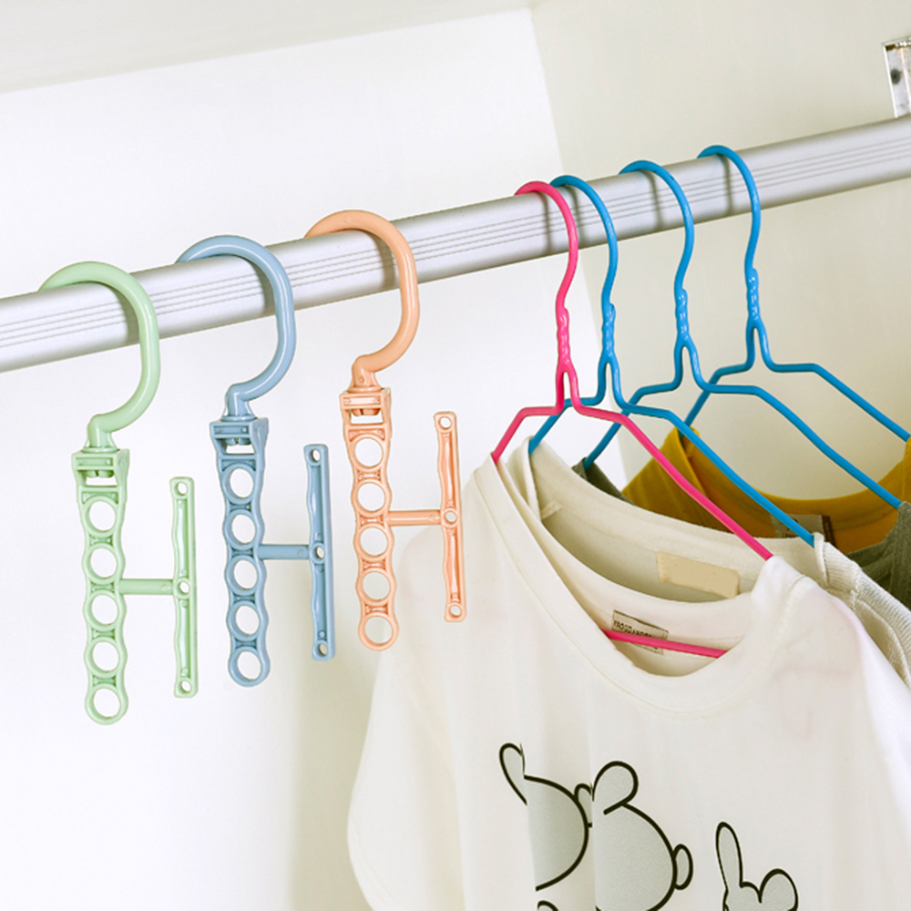 Hangers For Clothes Windproof Hanger Fixed Holder Buckle Household Anti-Slip Clothes Hanger Plastic 5 Circle Hanger Organizer