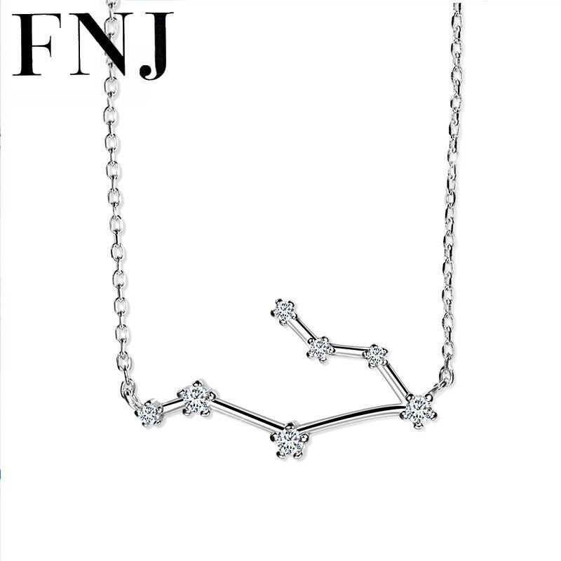 FNJ 12 Constelaciones COLLAR COLGANTE 925 Sagitario de plata Capricornio Sagitario cáncer Piscis 40-45 cm Cadena de circonio cúbico