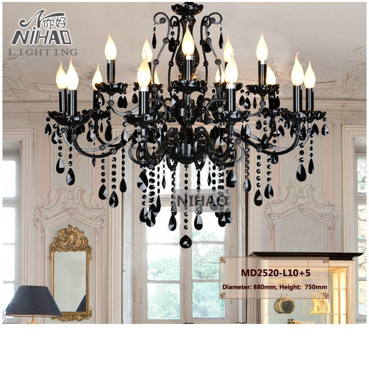 Vintage Black 15 Arms Crystal Chandelier Light Fixture Large American Wrought Iron Chandelier Hanging Light MD2520 L15Vintage Black 15 Arms Crystal Chandelier Light Fixture Large American Wrought Iron Chandelier Hanging Light MD2520 L15