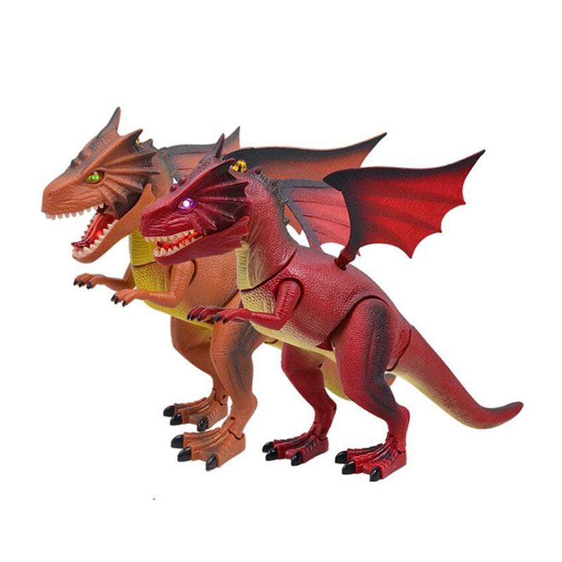 Infrarouge RC Simulation électronique animaux de compagnie dinosaure Modle jouets jurassique dragon de feu éclairer les yeux et les sons Dragon de flamme enfants jouets