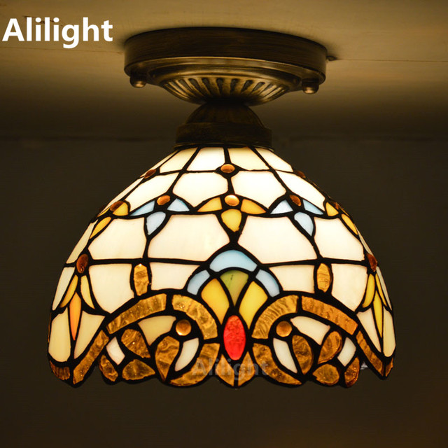 Stained Gl Tiffany Ceiling Light European Clic Lamp Living Room Indoor Lighting E27 110 240v Home Decor Fixtures