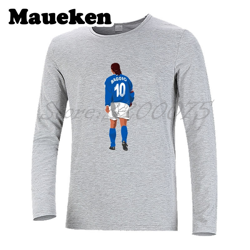 Men Autumn Winter Italy Legend #10 Roberto Baggio T Shirt Long Sleeve Tees T SHIRT Men's Feats Melancholy Prince W1109011