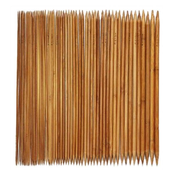 UESH-5 conjuntos de 11 tamaños 5 ''13 cm Punta doble bambú carbonizado Kits de agujas de tejer 2,0 mm-5,0mm