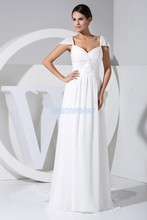 free shipping 2014 hot seller new design beading custom color/size cap sleeve white evening gown chiffon dresses women