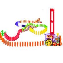 Моторизованный поезд домино, набор мостовых игрушек с 120 домино, развивающие интеллектуальные игрушки, подарок на Рождество, день рождения для мальчиков и девочек