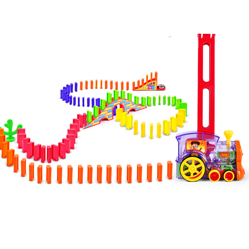 Motorized Domino Train Car Kit Bridge Set With 120 Dominoes Educational Intelligence Toys Christmas Birthday Gift For Boys Girls