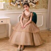 Детское платье цвета шампанского золотого цвета для девочек, платье принцессы для выпускного вечера, подарки для малышей, праздничная одеж