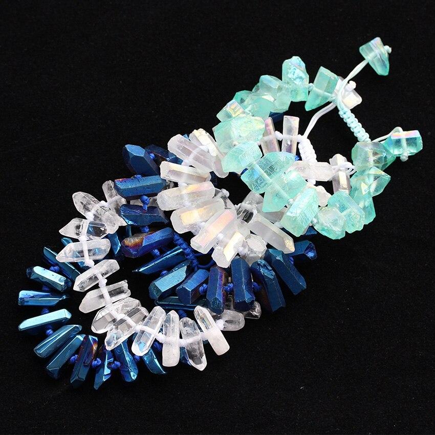 Boho Beads Charms Bracelet Adjust Polished Crystal Quartz Chip Points Handmade Bracelet For Women Engagement Gift