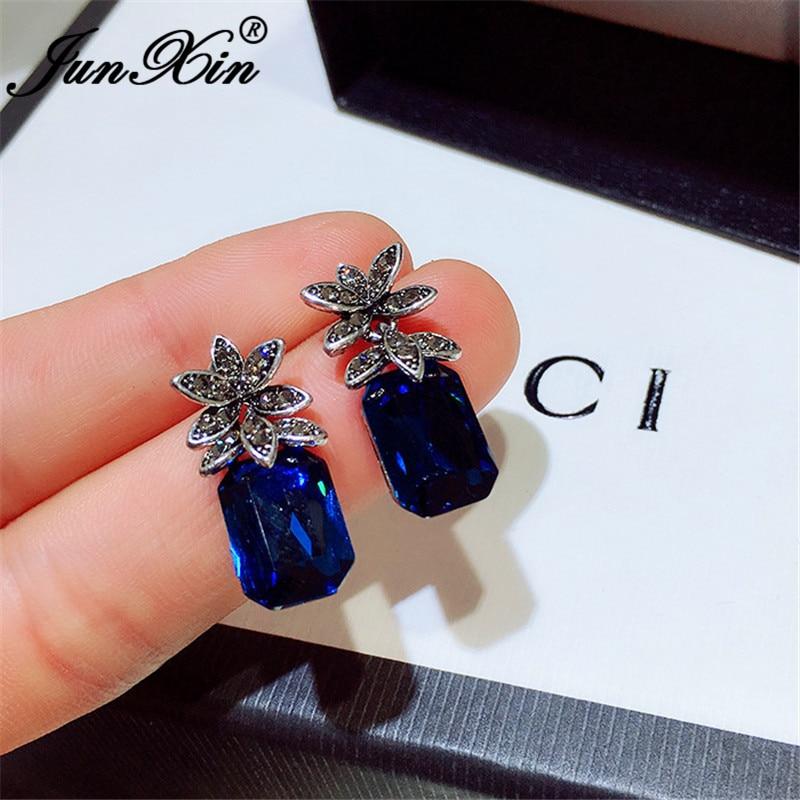 Boho Female Crystal Pineapple Stud Earrings For Women Silver Color Wedding Square Blue Zircon Stone Black Earrings Jewelry