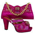2016 High quality  Italian design Lady fashion shoes and bag set with fast delivery  MM1007 Fuchsia