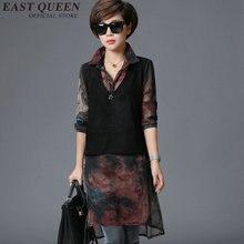 Womens summer dresses 2017 summer gauzy polo shirt dress long sleeve turn down collar floral print vintage dress KK272 Q