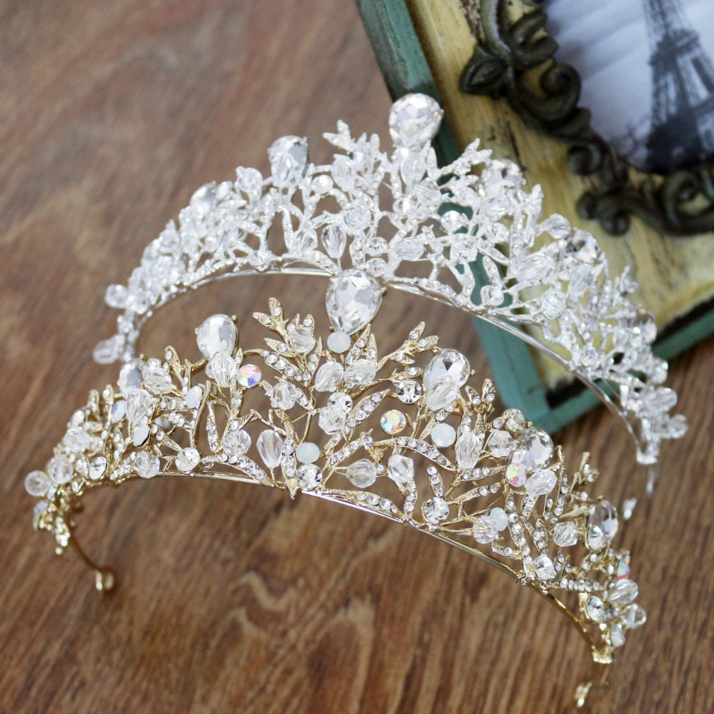 Romantic Gold Silver Hair Tiara Crown Rhinestone Crystal Diadem Bridal Wedding Party Pageant Hair Jewelry For Women Brides