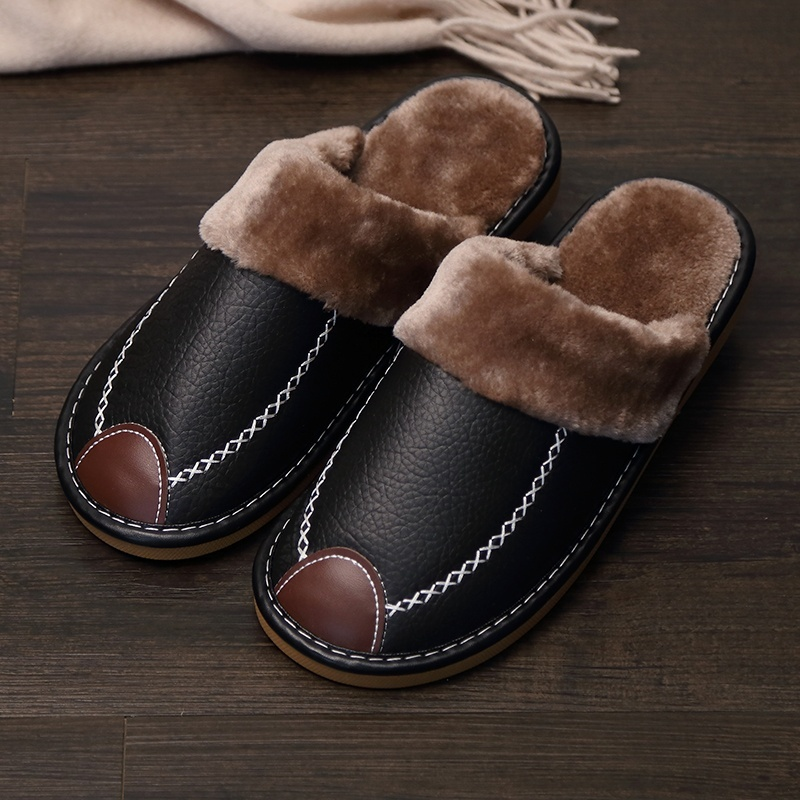 2020 WINTER SUPER COMFORTABLE LEATHER WATERPROOF AND WARM SLIPPERS - Cayyogo