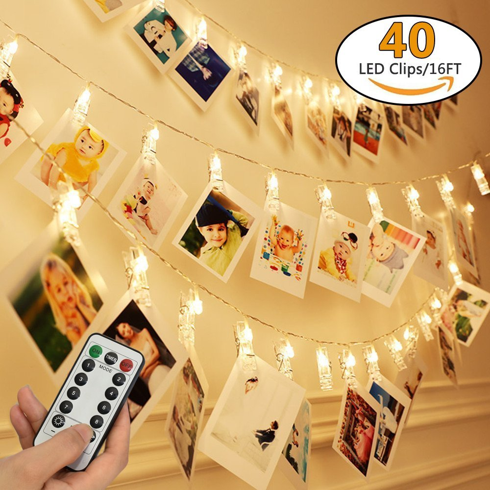 8 Modes Remote Control 40LED Photo Clip Led String Fairy Light With Battery Box Warm White For Christmas Wedding Home Decoration
