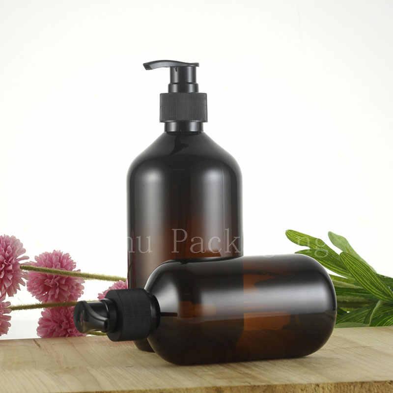 300 Ml 500 Ml Kosong Coklat Lotion Pompa Botol Plastik Amber Sampo Kontainer dengan Dispenser, sabun Cair Botol PET 24 Pc/lot
