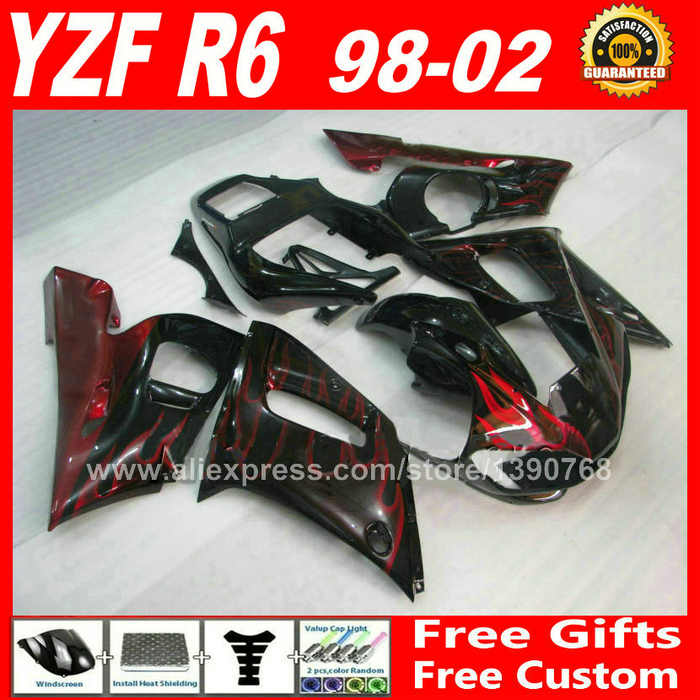 Red flames Fairings set for YAMAHA R6 1998 - 2002  ABS parts kit  98 99 00 01 02 fairing kits YZF 600 1999 2000 2001