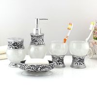 Resin Bathroom Accessories Set 5Pcs Toothbrush Holder Lotion Dispenser Soap birthday wedding gift Bathroom Accessories Sets