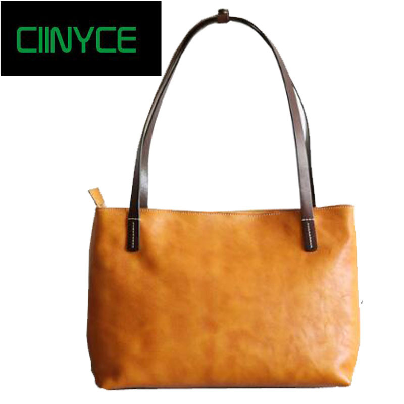 Brand Women Genuine Tanned Leather Causal Vintage Soft Cowhide Skin Handbag Shopping Bucket Liner Shoulder Bags High Quality