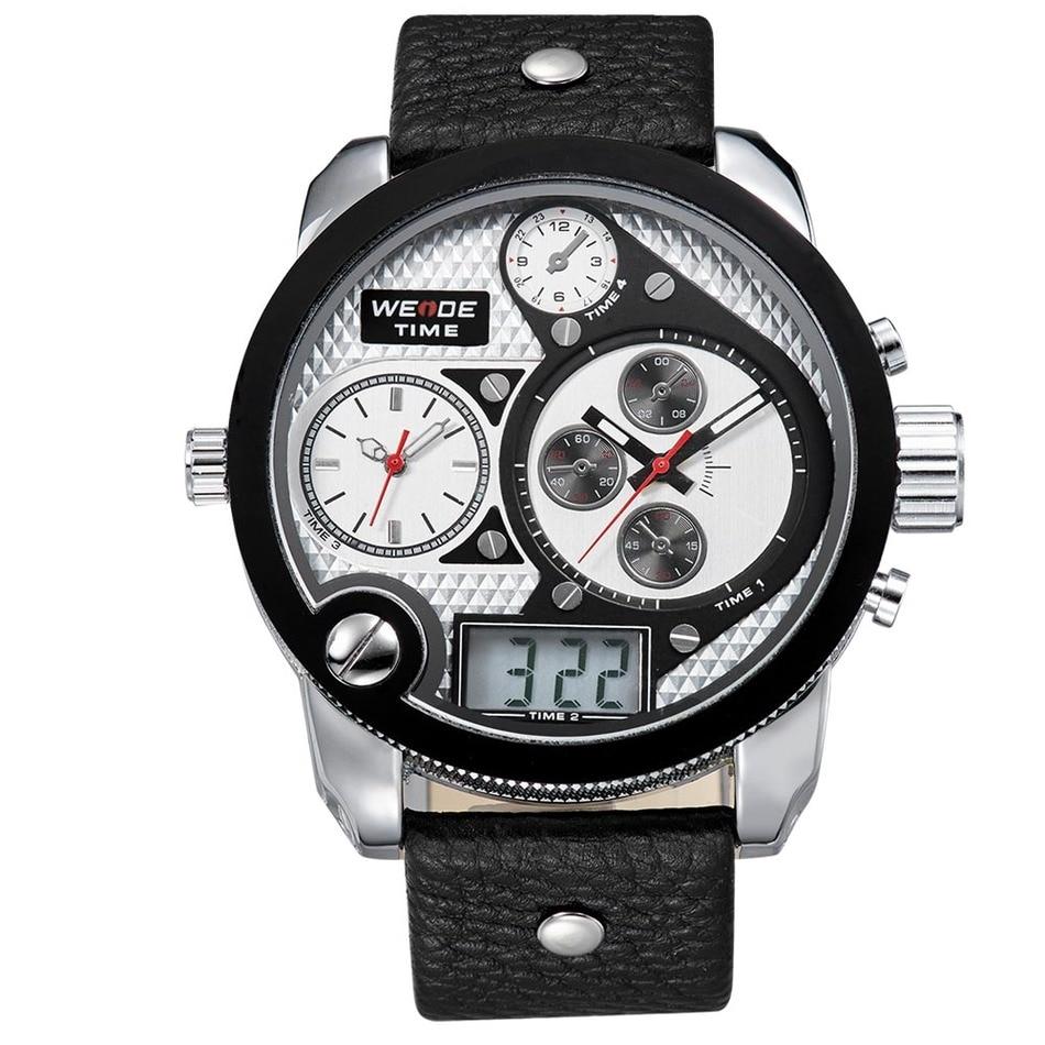 ФОТО Luxury Brand WEIDE Watch Men Fashion Male Quartz Business Watches Sports Waterproof Military leather Steel Relogio Masculino