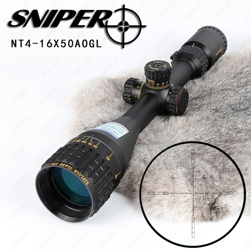 SNIPER NT 4 16X50 AOGL Hunting Riflescopes Tactical Optical Sight Full Size Glass Etched Reticle RGB