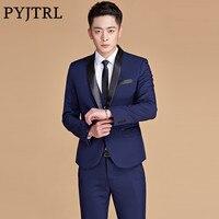 PYJTRL Mens Plus Size 5XL Navy Blue Shawl Lapel Two Piece Stage Singer Wear Latest Coat