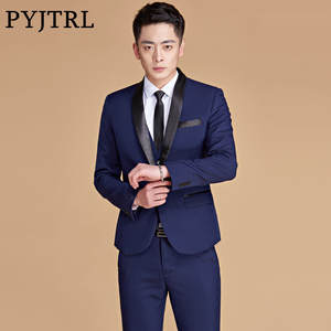 PYJTRL Navy Blue Prom Wedding Suits For Men c65a35bcd77